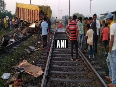 Truck rams into Radhjhani Express in Madhya Pradesh's Jhabua district. ANI