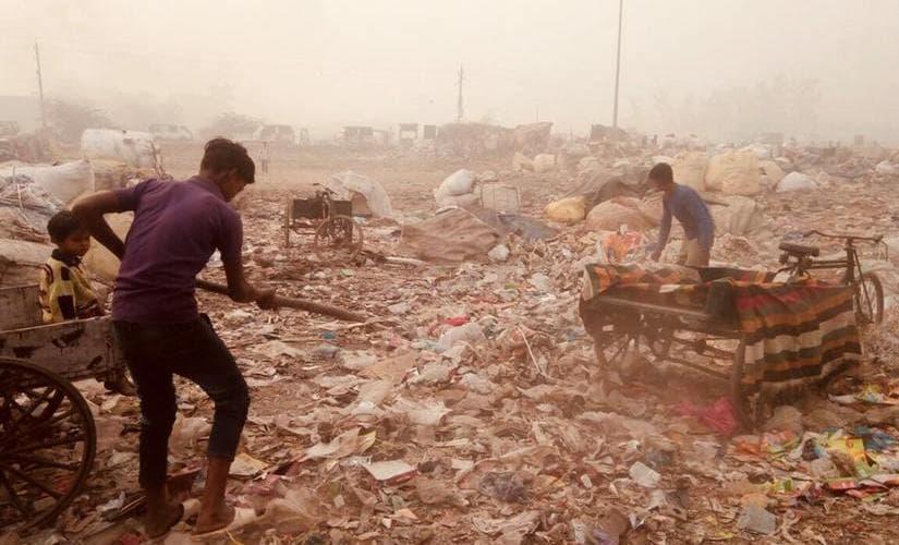 At Bhalswa Dairy in North West Delhi, a landfill is on fire, adding toxic methane to Delhi's air. Pallavi Rebbapragada