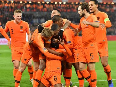 Netherlands players celebrate after scoring against France in their UEFA Nations League match. AFP