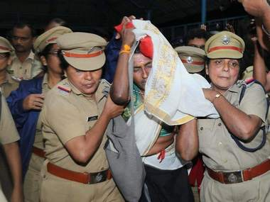 Hindu Aikya Vedi president KP Sasikala was arrested for defying the police's prohibitory orders. Image courtesy: TK Devasia
