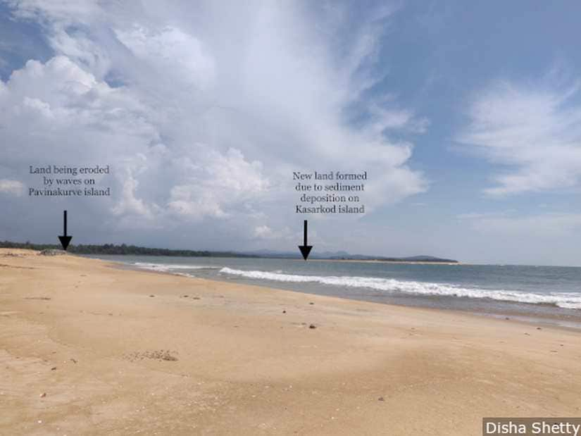 While the island of Pavinakurve (on the left) is losing land to erosion, new land is being formed on the island of Kasarkod (right) due to deposition of sediments called accretion. The new land goes to the government and not the ones who lost their land to erosion. Image courtesy: Disha Shetty