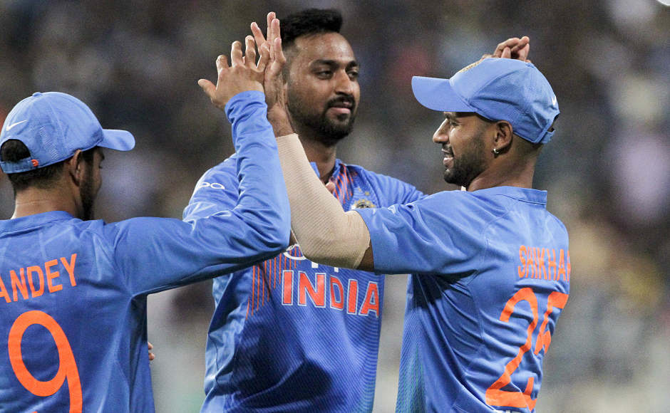 India's debut man Krunal Pandya had a terrific outing as he bowled a tight line and length, giving away just 15 runs and picked one wicket as well. He scored the winning runs for India, amassing 21 runs in just 9 balls in his maiden T20I innings. AP