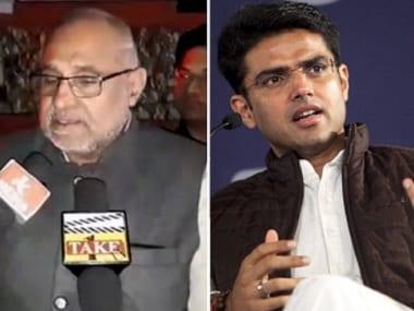 Rajasthan BJP vice-president Avinash Rai Khanna (left) and Congress leader Sachin Pilot (right). Twitter@BJP4JammuandKashmir/Getty Images