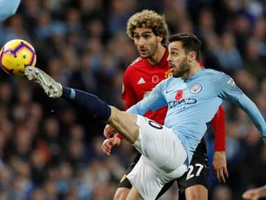 Bernardo Silva in action for Manchester City against United. Reuters