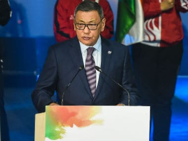 Interim President of the International Boxing Association, Gafur Rakhimov, speaks during the opening ceremony of the 2018 Women's Boxing World Championship in New Delhi. AFP