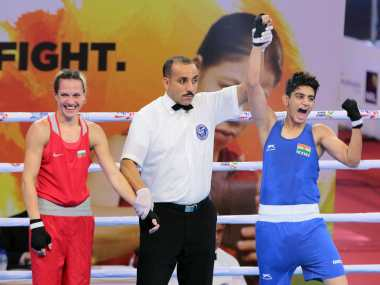 India's Sonia Chahal  celebrates after being adjudged the winner of her pre-quarterfinal bout. Image Courtesy: BFI