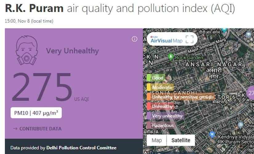 Air quality of RK Puram as reported on Airvisual.com at 3 pmon 8 November.