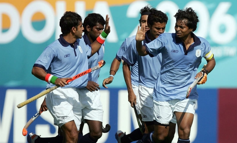 Dilip Tirkey (first from right) represented India in three World Cups. AFP