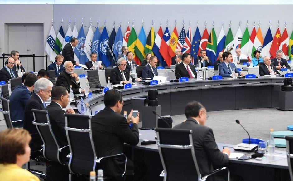 G20 leaders later opened annual talks stalked by the deepest divisions since their first summit 10 years ago, with Trump under fire for destroying the group's past consensus on trade and climate change. Twitter/@PIBIndia