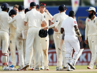 England players celebrate after winning the first Test by 211 runs. Reuters