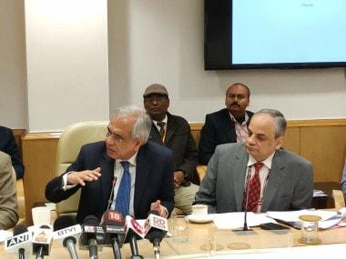 Niti Aayog VC Rajiv Kumar addressing the press conference. Image courtesy: Twitter/ @NITIAayog