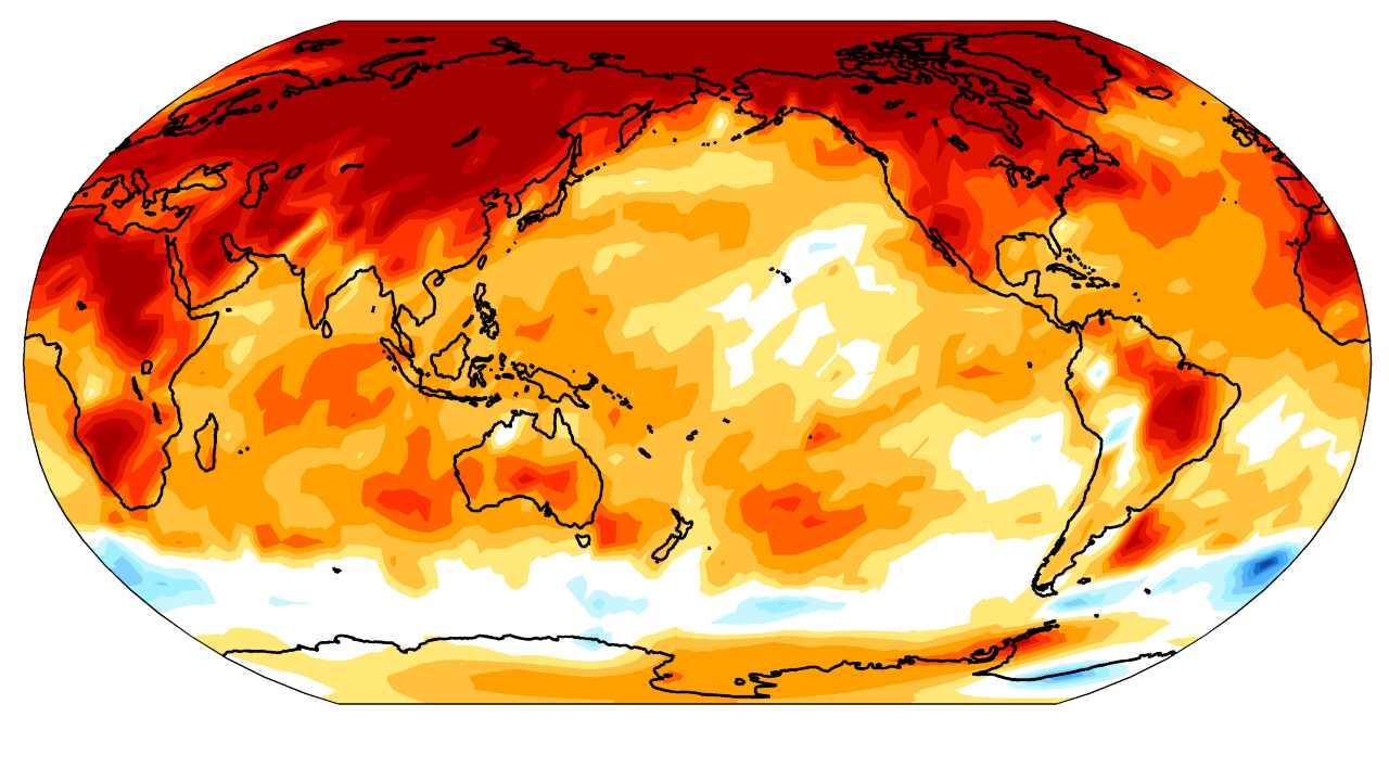Global changes in temperature over the past 50 years. On a scale of blue to red, the map shows a temperature drop of -0.4 degree celsius (blue) to a rise of 0.4 degree celsius (Red) across the globe. Image courtesy: