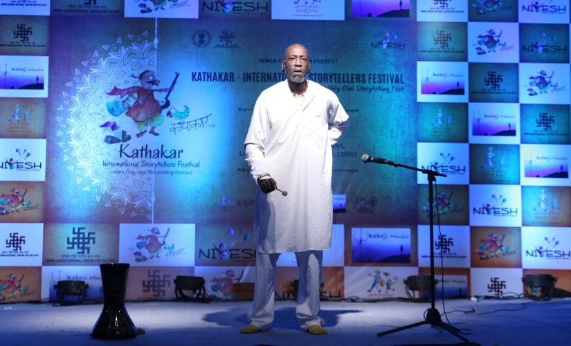 Tuup (Godfrey Duncan) performs narrates a Guyanese legend on shooting stars