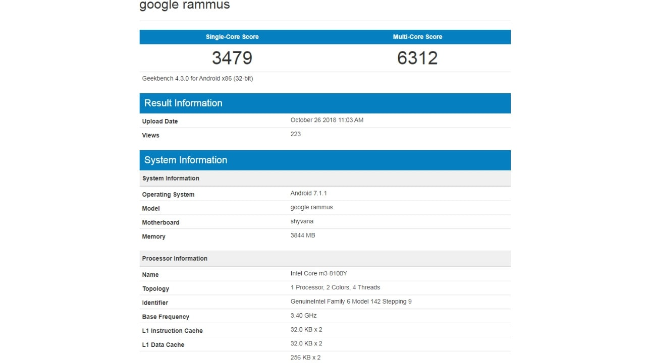 Google Rammus gets spotted on Geekbench with 4 GB RAM, Intel Core M3 processor
