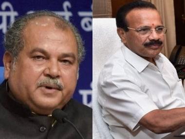 File image of Union Ministers Narendra Singh Tomar and DV Sadananda Gowda. PTI