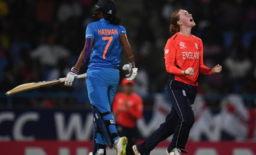 Indian captain Harmanpreet Kaur was dismissed by Kirstie Gordon for 16 off 20 balls in the semi-final clash. ICC