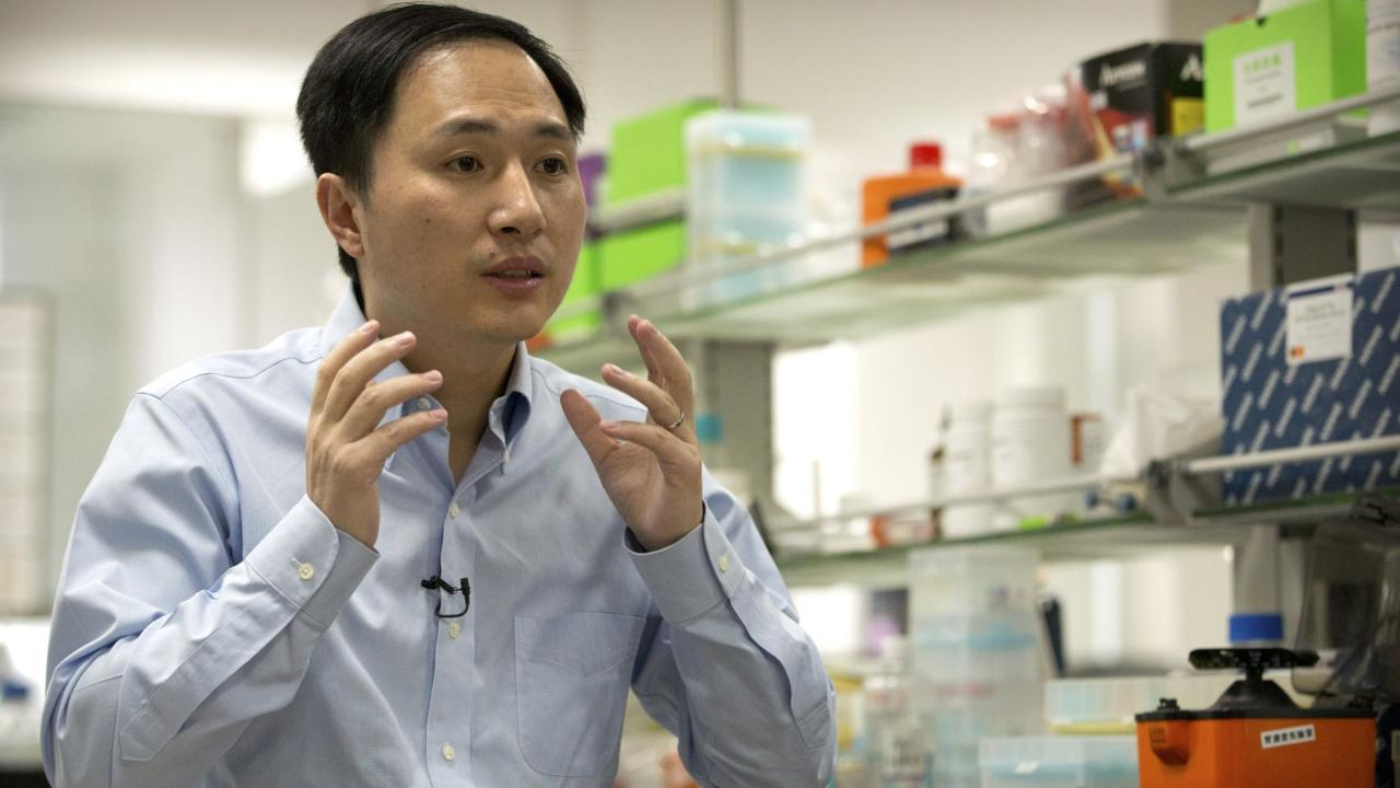 He Jiankui during an interview at his laboratory in Shenzhen in China. AP