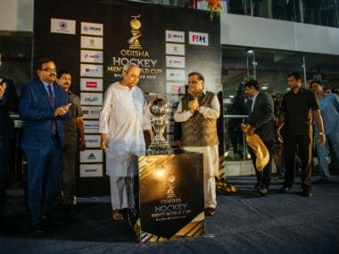 The Hockey World Cup trophy was unveiled at the event. Image courtesy: Firstpost
