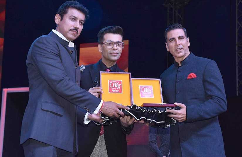 Rajyavardhan Singh Rathore, Karan Johar and Akshay Kumar at IFFI 2018 opening ceremony