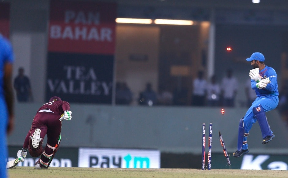Krunal Pandya dismissed Fabian Allen with a direct-hit for a first-ball duck. AP