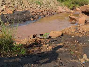 The iron ore sludge that has polluted the land in and around it. Firstpost/Natasha Trivedi