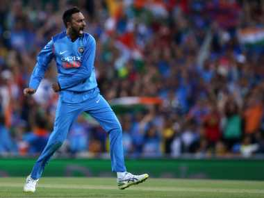 Krunal Pandya took four wickets for 36 runs in the third T20I. AP
