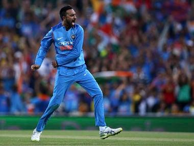 Krunal Pandya celebrates after taking the wicket of Australia's Ben McDermott in 3rd T20I. AP