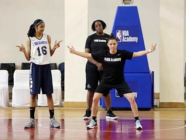 Sanjana Ramesh during an NBA India camp. Image courtesy: NBA India
