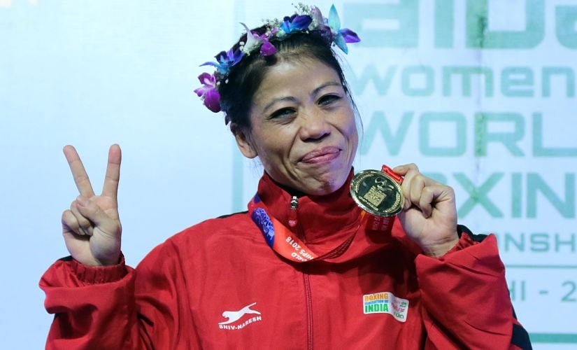 India's Mary Kom celebrates her sixth World Championships gold medal on Saturday. Image courtesy: BFI