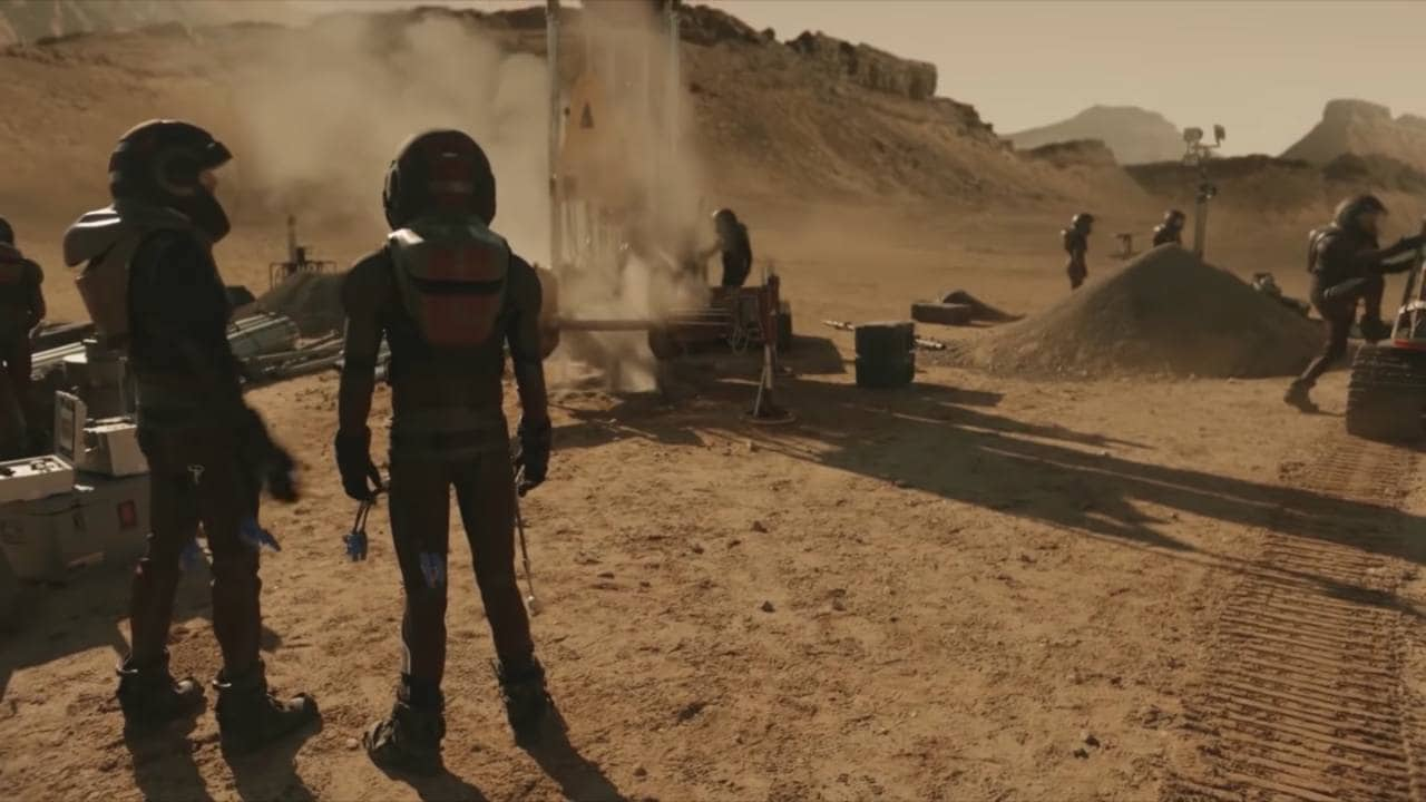 Martian colonists working on a promising drill site. Image courtesy: National Geographic