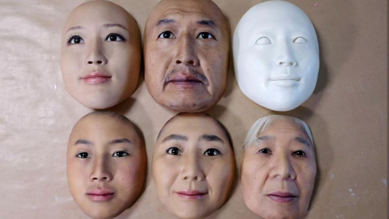 Super-realistic face masks are displayed at the factory of REAL-f Co. Image: Reuters