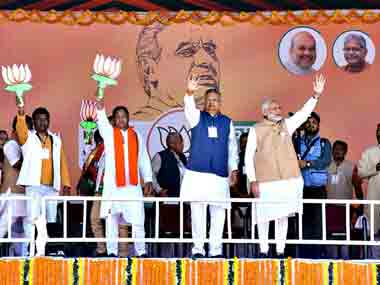 Prime Minister Narendra Modi during an election rally at Jagdalpur, in Bastar district on Friday. PTI