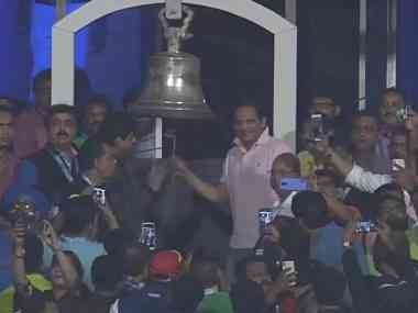 Mohammad Azharuddin ringing the bell at Eden Gardens during the 1st India-West Indies T20I. Twitter @GautamGambhir