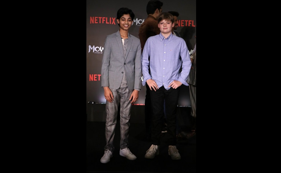 Actors Rohan Chand and Louis Ashbourne Serkis at the event. Chand plays the protagonist, Mowgli while Serkis essays the role of the albino wolf, Bhoot in the film. Firstpost/ Sachin Gokhale