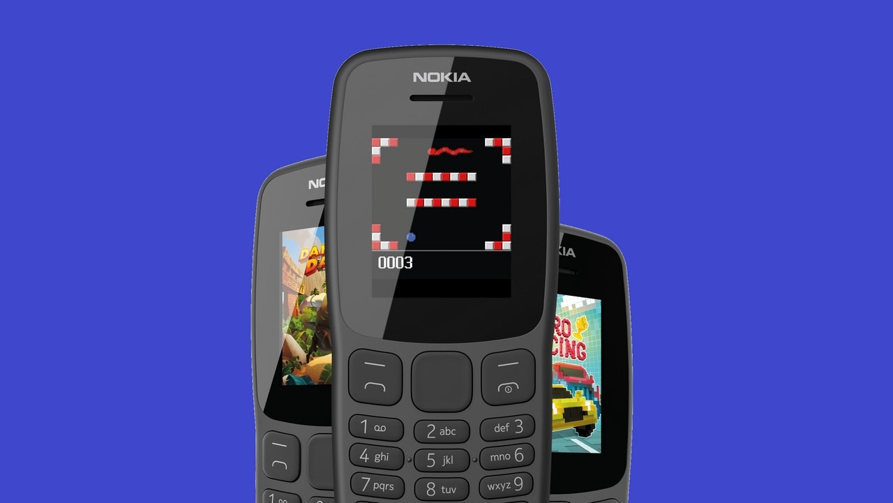 Play the classic Snake Xenzia and preloaded demos of Nitro Racing, Danger Dash and Tetris on the Nokia 106. Image: HMD Global