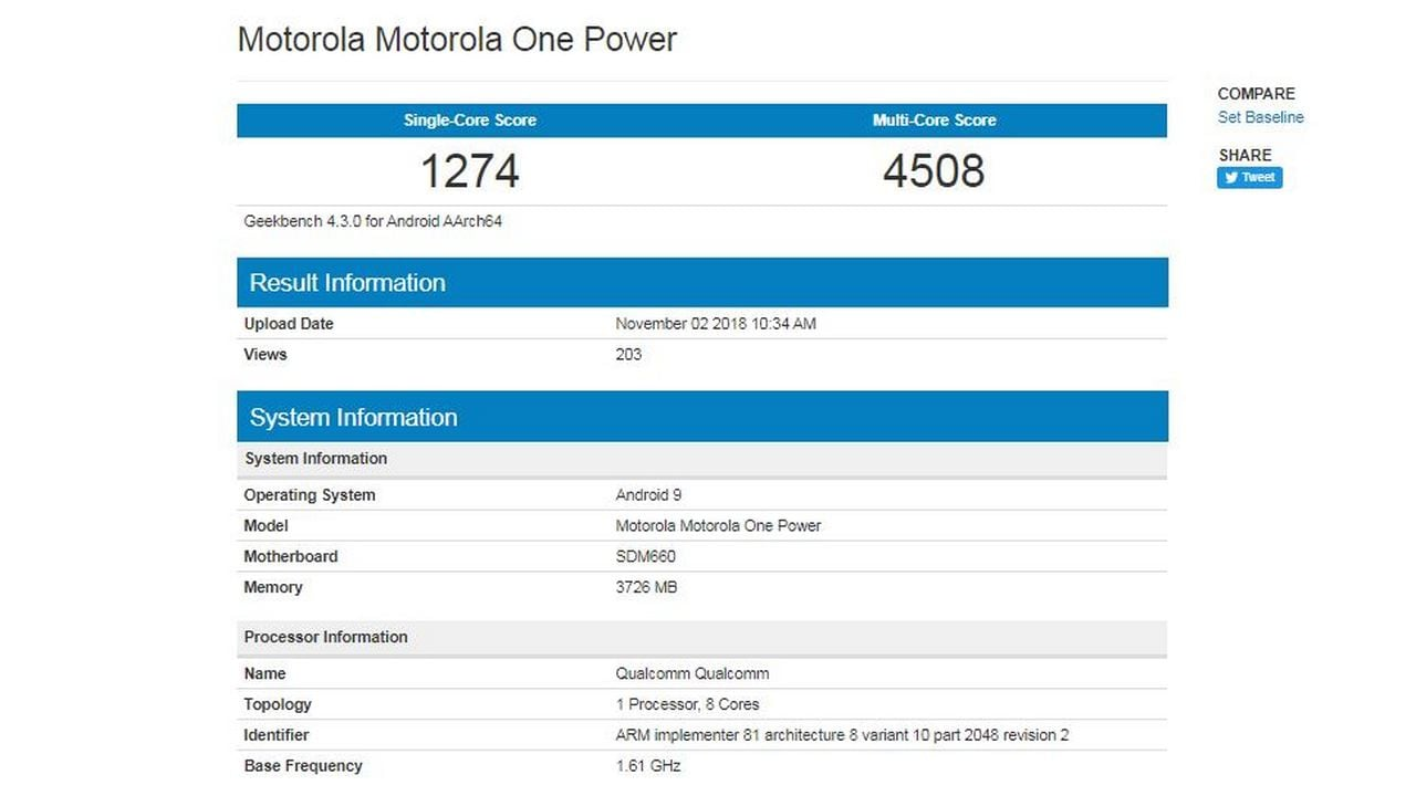 Moto One Power spotted on Geekbench running Android Pie. Image: Geekbench