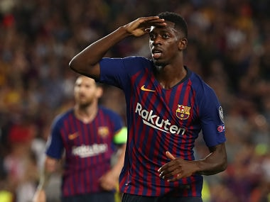 Soccer Football - Champions League - Group Stage - Group B - FC Barcelona v PSV Eindhoven - Camp Nou, Barcelona, Spain - September 18, 2018 Barcelona's Ousmane Dembele celebrates scoring their second goal REUTERS/Sergio Perez - RC1BCF32D920