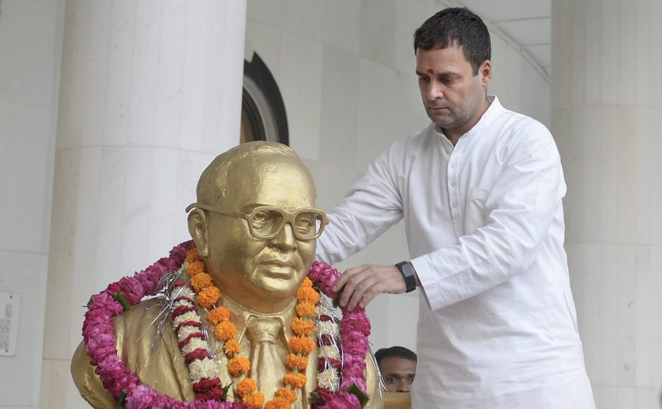 Rahul offered floral tributes to BR Ambedkar at the late leader's birthplace in Mhow. PTI