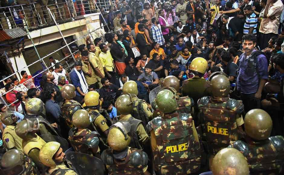Over 200 pilgrims refused to vacate the temple premise after 10 pm on 18 November, as ordered by the state administration and stayed put, singing Lord Ayyappa hymns and chants. PTI