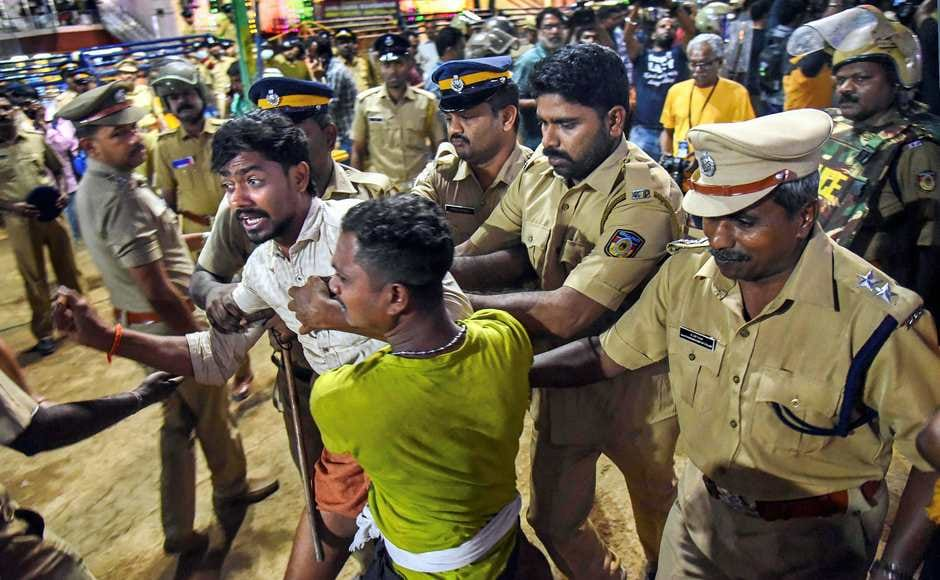As the devotees continued to stay put despite repeated requests from the police, action was initiated to forcefully evict them from the premises. PTI