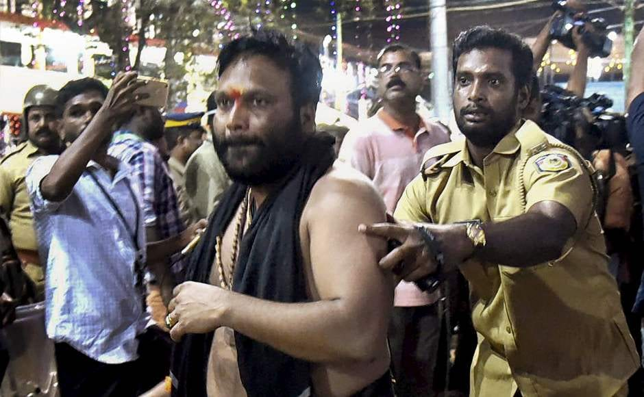 The protesters were taken to the Maniar police Ccamp in Pathanamthitta district and and were to be produced before a court the next day. PTI