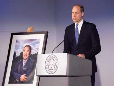 Britain's Prince william speaks next to a picture of, Leicester City's owner Thai businessman Vichai Srivaddhanaprabha's during a visit to Leicester City's King Power stadium. Reuters