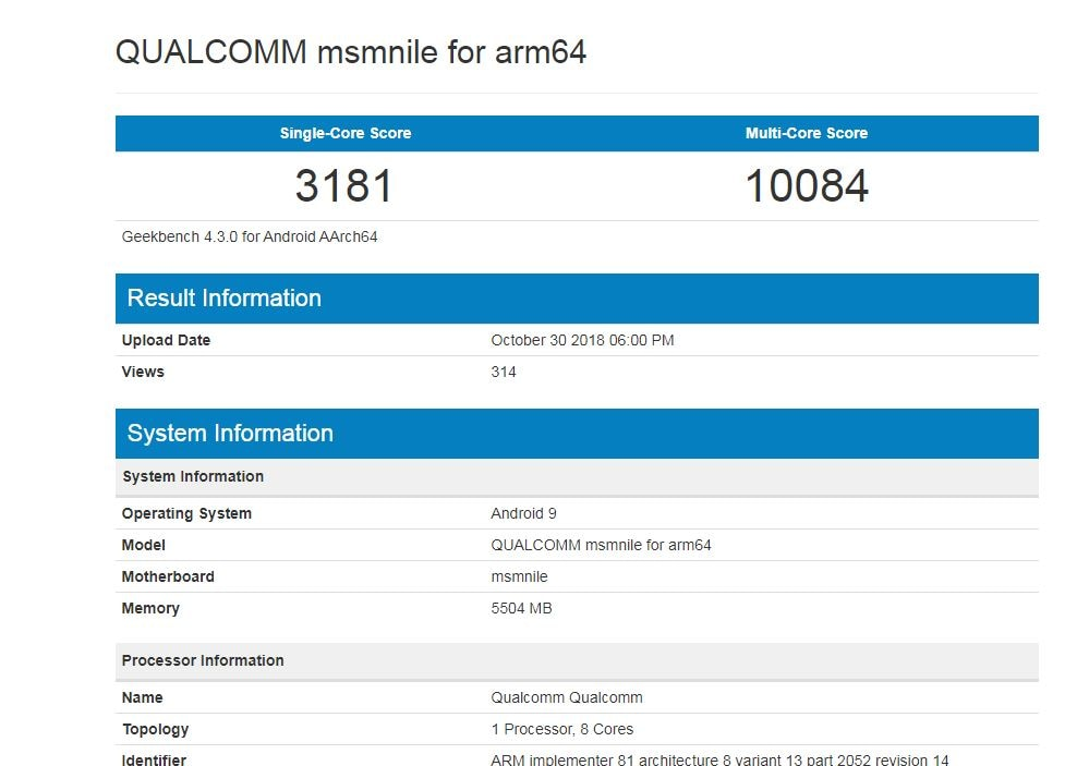 Qualcomm Snapdragon 8510 benchmarks. Geekbench