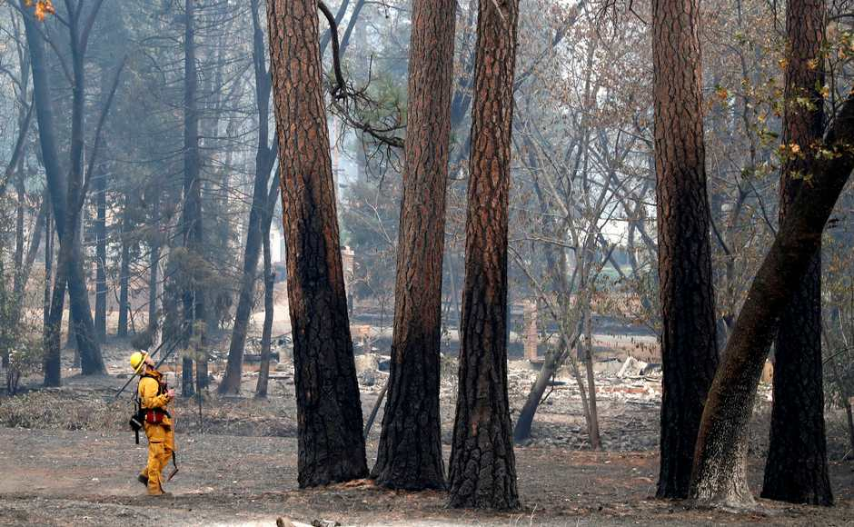 Firefighters surveyed the areas and trees damaged by the blaze. The 'Camp Fire' devastated the mountain town of Paradise. Reuters