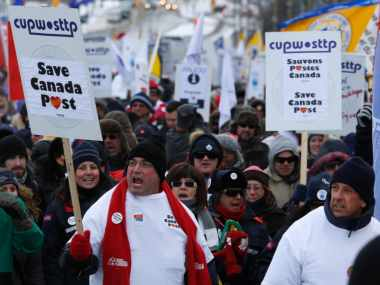 File image of the Canada Post protests. Reuters