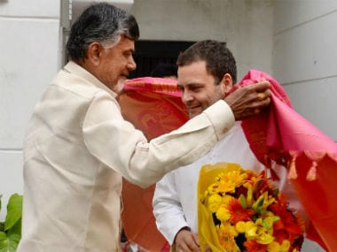 Andhra Pradesh chief minister N Chandrababu Naidu (left) with Congress president Rahul Gandhi. News18