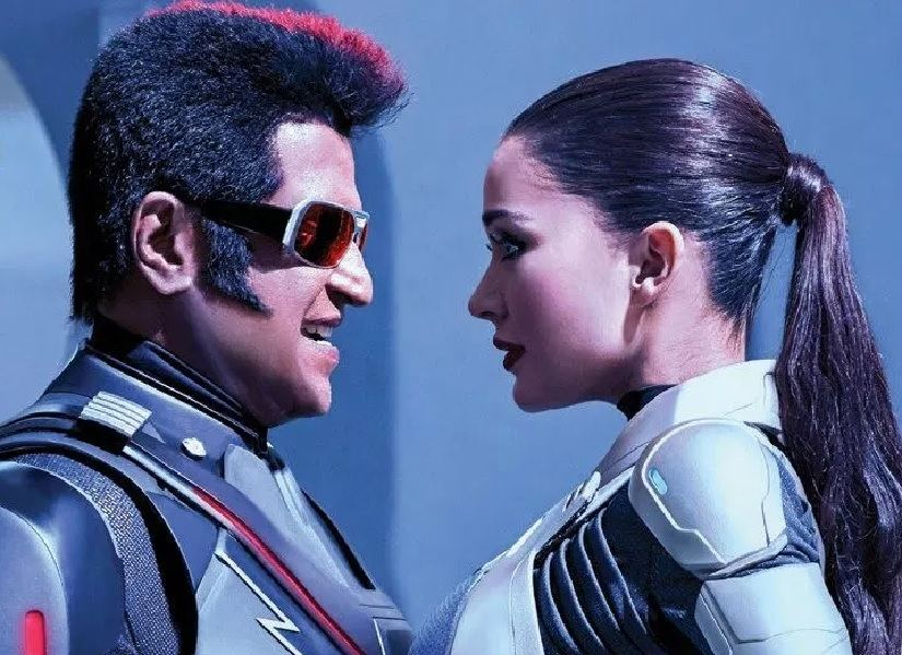 Rajinikanth and Amy Jackson in 2.0. Image via Facebook