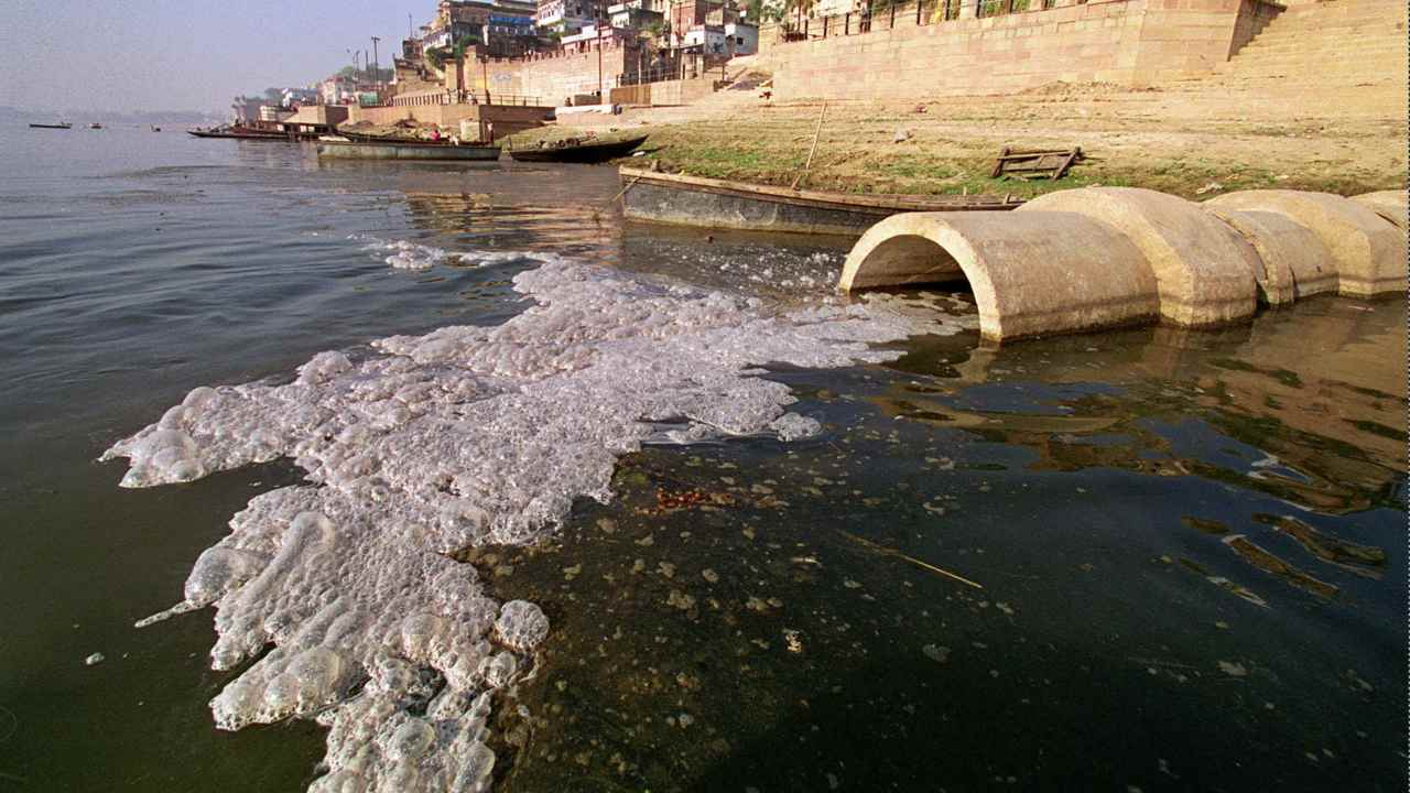 Raw sewage flows into the river Ganga in this image captured in Varanasi, 1998. AP