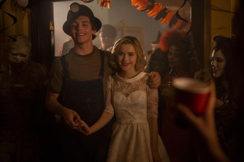 Sabrina and her boyfriend Harvey Kinkle (Ross Lynch) at the H̶a̶l̶l̶o̶w̶e̶e̶n̶ birthday party. Netflix