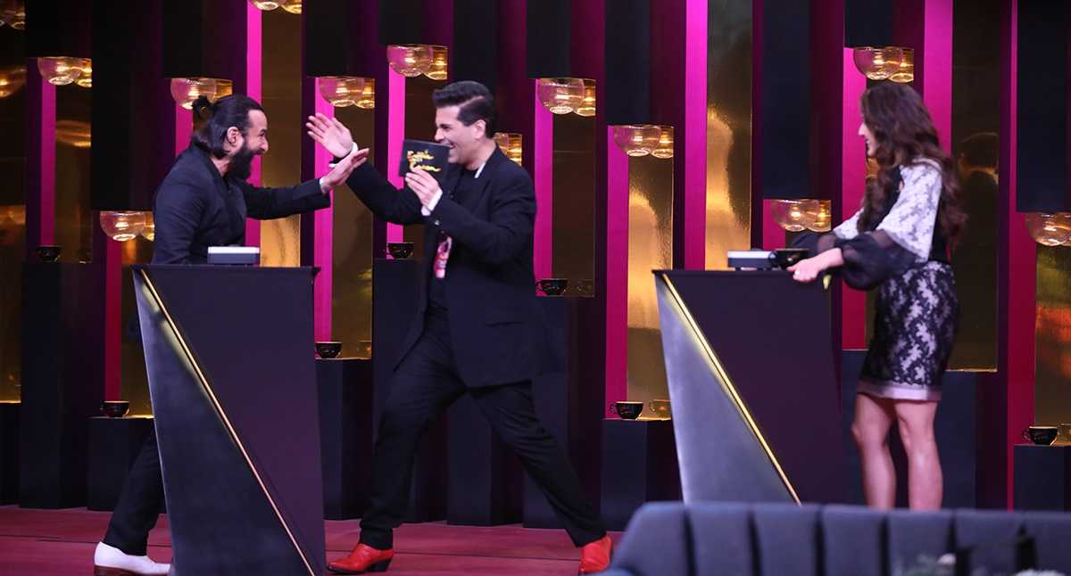 Saif Ali Khan, Karan Johar and Sara Ali Khan in a still from Koffee with Karan season 6. Star World